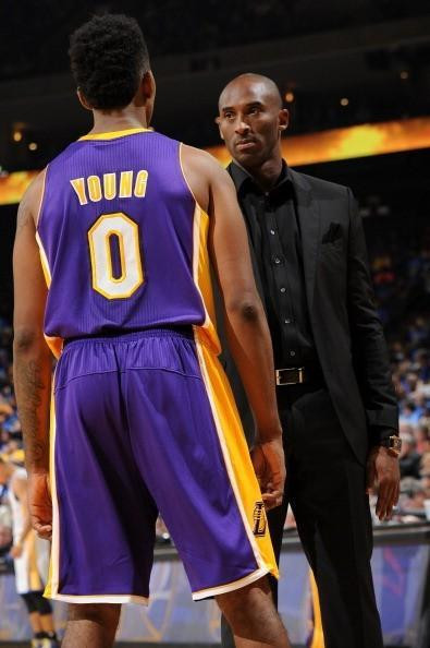 Kobe Bryant stares into Nick Young's soul just before the Laker rapture.
