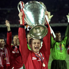United super-sub Ole Gunnar Solskjær, upon winning the 1999 UEFA Champions League.